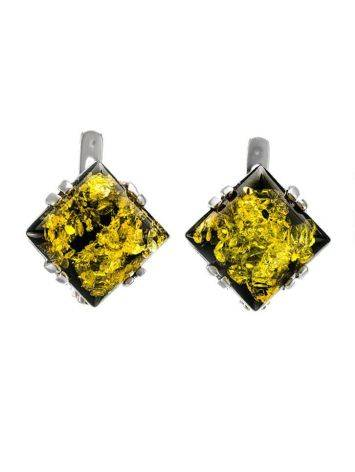Geometric Silver Earrings With Green Amber The Astoria, image