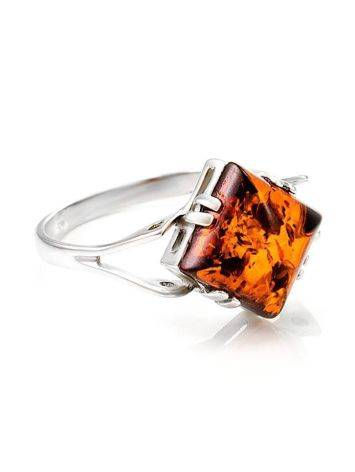 Stylish Silver Ring With Bright Cognac Amber The Astoria, Ring Size: 13 / 22, image