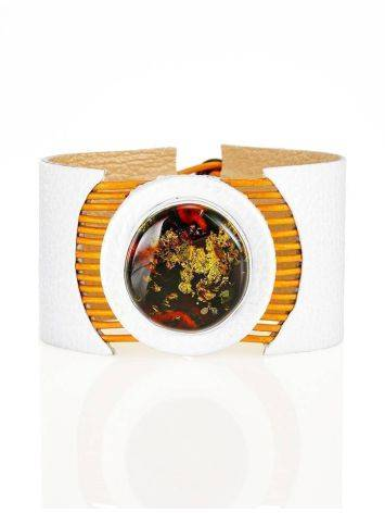 White Leather Bracelet With Green Amber The Amazon, image