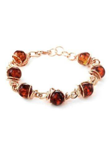 Link Amber Bracelet In Gold-Plated Silver The Flamenco, image
