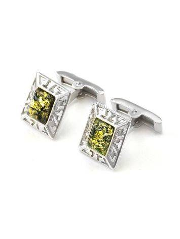 Geometric Silver Cufflinks With Green Amber The Ithaca, image