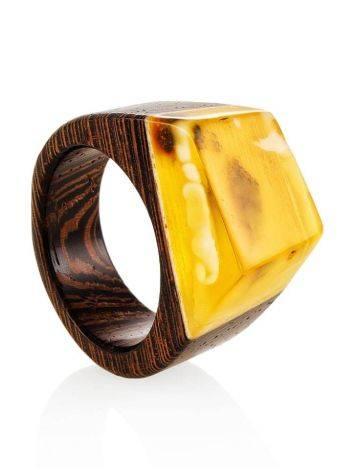 Wenge Wood Ring With Honey Amber The Indonesia, Ring Size: 9 / 19, image