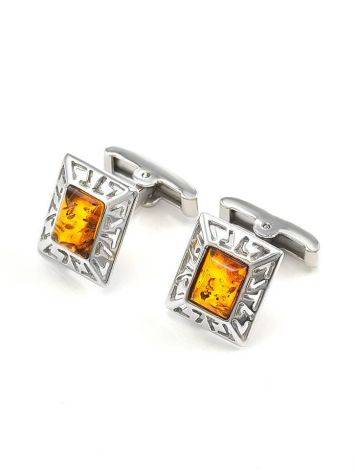 Stylish Geometric Cufflinks With Cognac Amber In Silver The Ithaca, image