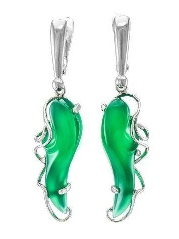 Silver Drop Earrings With Green Synthetic Onyx The Serenade, image