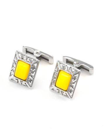 Bold Honey Amber Cufflinks In Sterling Silver The Ithaca, image