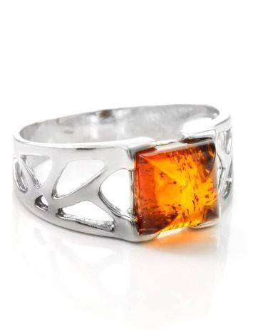 Sterling Silver Ring With Cognac Amber The Artemis, Ring Size: / 22.5, image