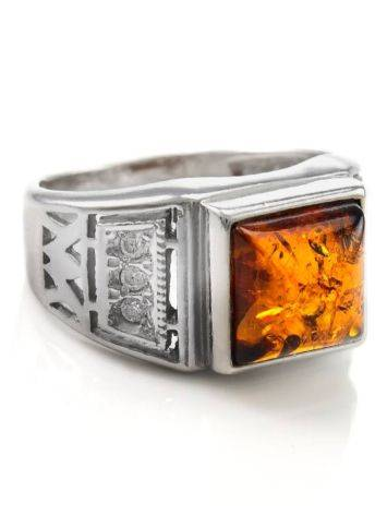 Classic Men's Signet Ring With Cognac Amber In Sterling Silver The Cesar, Ring Size: 13 / 22, image