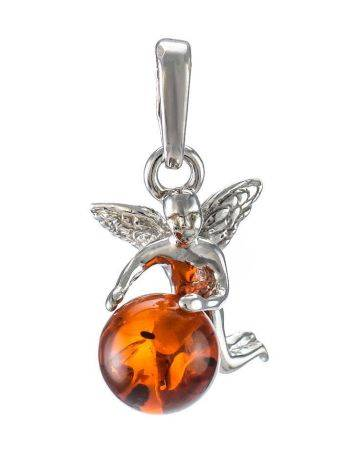 Sterling Silver Pendant With Cognac Amber The Angel, image
