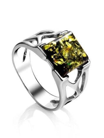 Sterling Silver Ring With Bright Green Amber The Artemis, Ring Size: 6.5 / 17, image