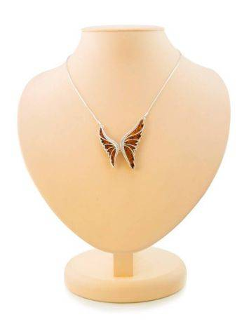 Amber Butterfly Necklace In Sterling Silver The April, image