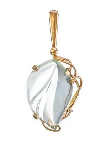 Golden Pendant With Light Blue Synthetic Praziolite The Serenade, image