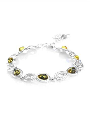 Green Amber Link Bracelet In Sterling Silver The Amour, image