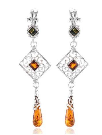 Silver Dangle Earrings With Multicolor Amber The Arabesque, image