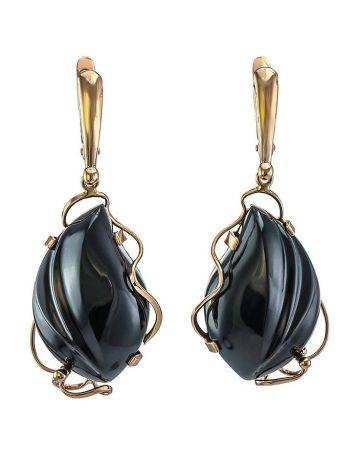 Black Synthetic Onyx Golden Dangles The Serenade, image