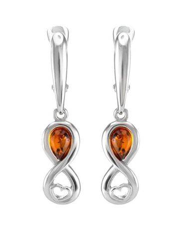 Cognac Amber Earrings In Sterling Silver The Amour, image