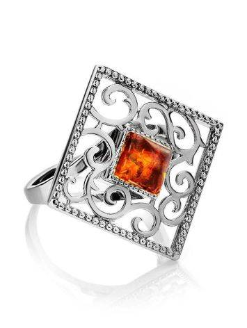Square Sterling Silver Ring With Cognac Amber The Arabesque, Ring Size: 11 / 20.5, image