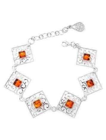 Cognac Amber Link Bracelet In Sterling Silver The Arabesque, image