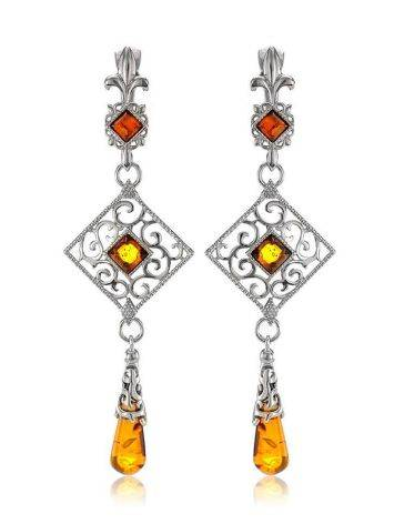 Sterling Silver Dangle Earrings With Cognac Amber The Arabesque, image