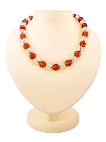 Amber And Silver Ball Beaded Necklace, image