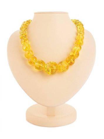 Lemon Amber Ball Beaded Necklace, image