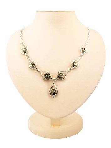Green Amber Necklace In Sterling Silver The Fiori, image