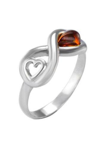 Sterling Silver Ring With Cognac Amber The Amour, Ring Size: 9 / 19, image