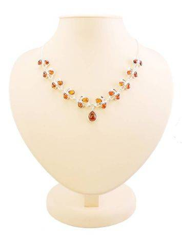 Amber Necklace In Sterling Silver The Lily Of The Valley, image