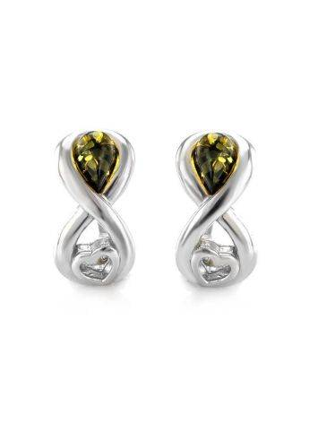 Green Amber Earrings In Sterling Silver The Amour, image