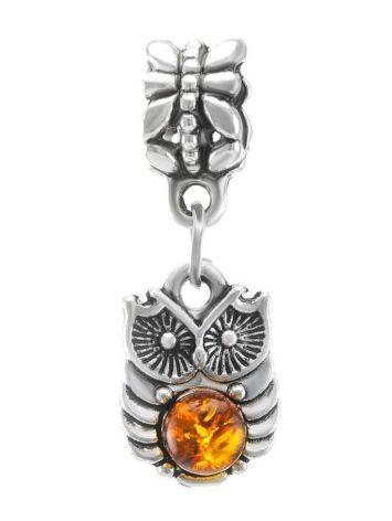 Metal Charm With Cognac Amber The Owl, image