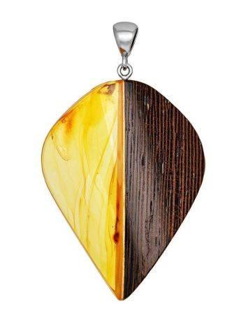 Wenge Wood Pendant With Lemon Amber The Indonesia, image