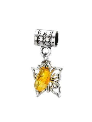 Metal Charm With Lemon Amber The Butterfly, image