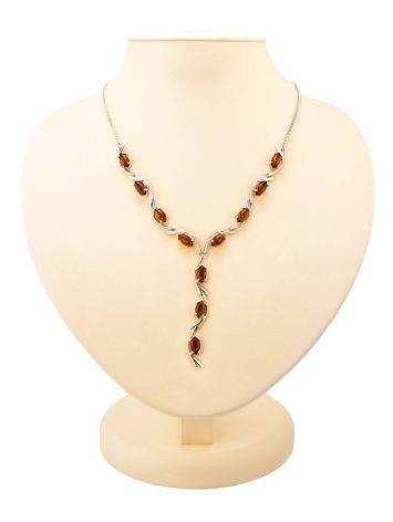 Cognac Amber Necklace In Sterling Silver The Verbena, image