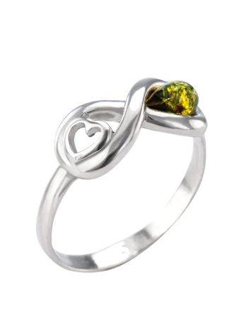 Sterling Silver Ring With Green Amber The Amour, Ring Size: 5.5 / 16, image