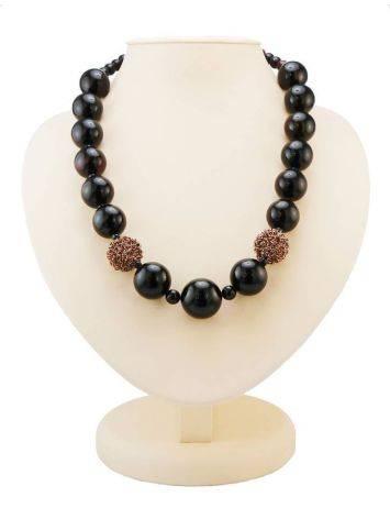 Dark Cherry Amber Ball Beaded Necklace The Ariadna, image