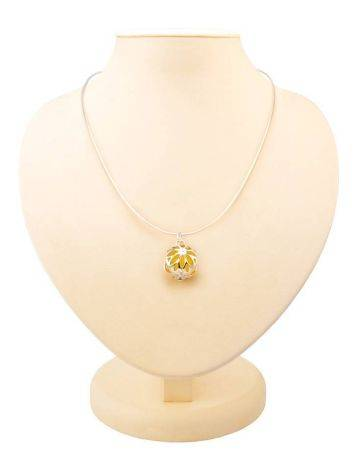 Silver Pendant Necklace With Honey Amber, image