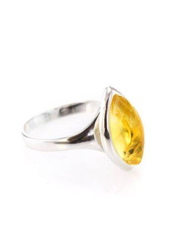 Lemon Amber Ring In Sterling Silver The Amaranth, Ring Size: 5 / 15.5, image