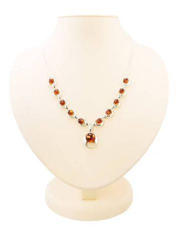 Cognac Amber Necklace In Sterling Silver The Orion, image