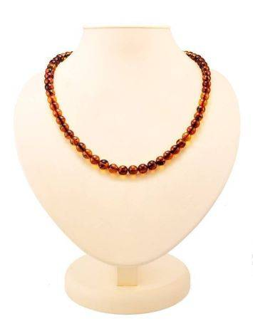 Cognac Amber Ball Beaded Necklace, image