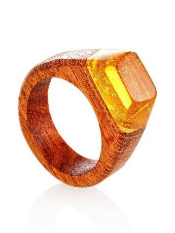 Redwood Ring With Lemon Amber The Indonesia, Ring Size: 9 / 19, image