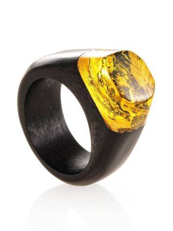Hornbeam Wood Ring With Lemon Amber The Indonesia, Ring Size: 9.5 / 19.5, image