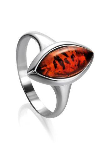 Refined Cognac Amber Ring In Sterling Silver The Amaranth, Ring Size: 5.5 / 16, image