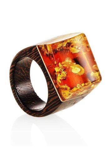 Wooden Ring With Lemon Amber The Indonesia, Ring Size: 7 / 17.5, image