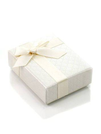 Textured White Cardboard Gift Box With Ribbon, image