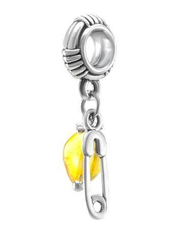 Sterling Silver Charm With Lemon Amber The Pin, image