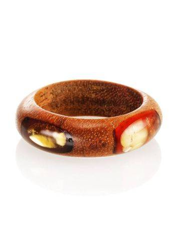 Wooden Ring With Honey Amber The Indonesia, Ring Size: 8 / 18, image