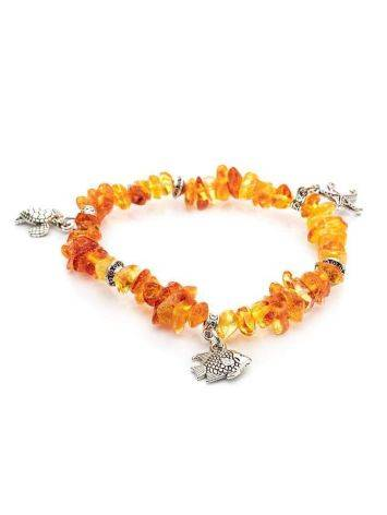 Cognac Amber Designer Bracelet With Charms, image