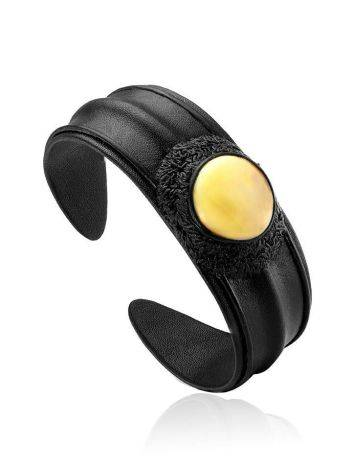 Dark Leather Cuff Bracelet With White Amber The Nefertiti, image