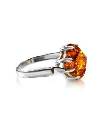 Bright Silver Ring With Cognac Amber The Astoria, Ring Size: 5.5 / 16, image