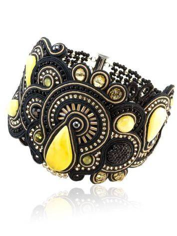 Braided Cuff Bracelet With Amber And Crystals The India, image