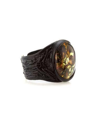 Dark Leather Open Ring With Lemon Amber The Nefertiti, Ring Size: Adjustable, image